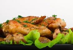 Зажаренные в духовке крыла цыпленк цыпленка Стоковое фото RF