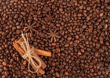Зажаренные в духовке циннамон и анисовку witn кофейных зерен, можно использовать как b Стоковые Фотографии RF