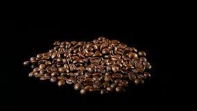 Зажаренные в духовке кофейные зерна вращают на черной предпосылке акции видеоматериалы
