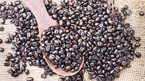 Зажаренные в духовке кофейные зерна в деревянной ложке Стоковые Фото