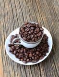 Зажаренные в духовке кофейные зерна в чашке Стоковое Изображение