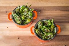 Зажаренные в духовке перцы padron в casserols Стоковое фото RF