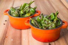 Зажаренные в духовке перцы padron в casserols Стоковые Изображения RF