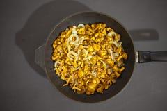 Зажаренные грибы лисички в сковороде Стоковое Изображение RF
