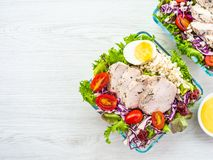 Зажаренные куриная грудка и салат мяса стоковые изображения