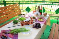 Зажаренные мясо, томат и лук Стоковая Фотография RF