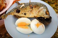 Зажаренные рыбы и яичка на плите стоковые изображения rf