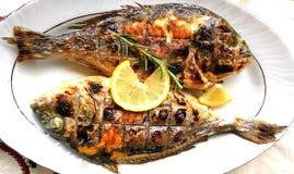 Зажаренные рыбы, лещ моря, dorada на плите стоковое изображение rf