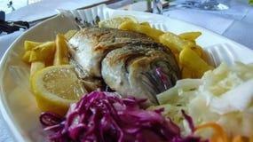 Зажаренные рыбы луча Позолот-головы стоковое фото rf