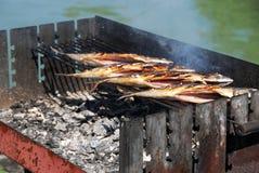 Зажаренные рыбы на барбекю Стоковое Изображение