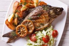 Зажаренные рыбы с зажаренными картошками и взгляд сверху салата горизонтальным Стоковые Изображения RF