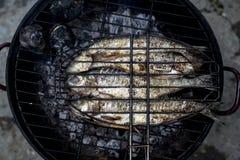 Зажаренные рыбы с испеченными картошками Стоковое Изображение RF