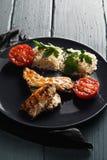 Зажаренные рыбы с рисом Стоковые Фото