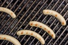Зажаренные сосиски на BBQ Стоковое Изображение RF
