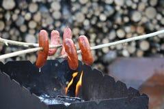 Зажаренные сосиски outdoors Стоковая Фотография RF