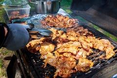 Зажаренные BBQ протыкальники и Kabob цыпленка Стоковые Изображения