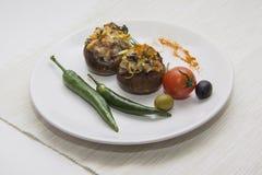 Зажаренные champignons с chili Стоковые Фотографии RF