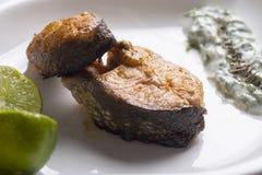 Зажаренные salmon лимон и салат Стоковое фото RF