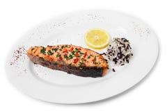 Зажаренные salmon филе и рис Стоковые Изображения