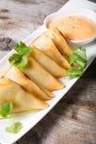 Зажаренные samosas с соусом Стоковые Фото