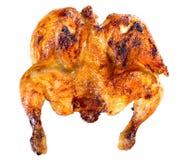 Зажаренный весь цыпленок marinated в изолированных меде и соевом соусе, стоковые изображения