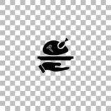 Зажаренный в духовке значок индюка плоско иллюстрация вектора