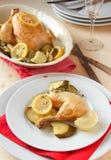 Зажаренный в духовке цыпленк цыпленок Стоковое Изображение