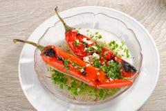 Зажаренный в духовке салат болгарского перца с чесноком Стоковые Изображения
