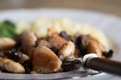 Зажаренный в духовке цыпленк цыпленок, зацепленная картошка и шпинат Стоковое Фото