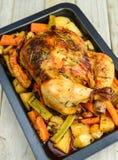 Зажаренный в духовке цыпленк цыпленок с травами и овощами корней стоковые изображения