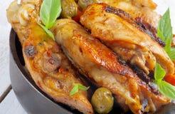 зажаренный в духовке цыпленок Стоковая Фотография RF