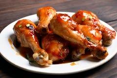 зажаренный в духовке drumstick цыпленка Стоковое Изображение
