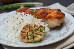 Зажаренный в духовке drumstick цыпленк цыпленка гарнированный с рисом Стоковое фото RF