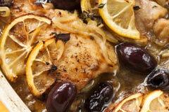 Зажаренный в духовке цыпленок лимона Стоковое Изображение RF