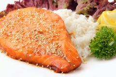 зажаренный в духовке salmon ломтик Стоковое Изображение