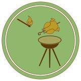 Зажаренный значок цыпленка Бесплатная Иллюстрация