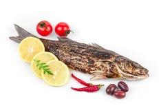 Зажаренный морской волк с овощами Стоковая Фотография