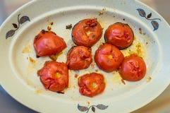 Зажаренный отрезок половин томата Стоковая Фотография