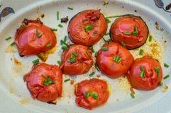 Зажаренный отрезок половин томата Стоковое Изображение