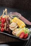 Зажаренный протыкальник говядины, свинины, цыпленка или овощей Стоковые Фотографии RF