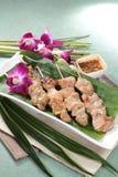 Зажаренный протыкальник говядины, свинины, цыпленка или овощей Стоковое фото RF