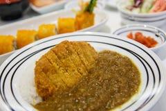 Зажаренный рис карри свинины Стоковое Изображение
