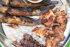 Зажаренный сом и зажаренный цыпленок Стоковая Фотография RF