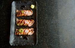 зажаренный угорь суш пресноводный Японская еда для здоровой суши unagi, наградные суши Стоковое Изображение