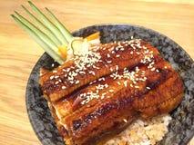 Зажаренный угорь с сладостным шаром риса соуса Стоковое Изображение RF