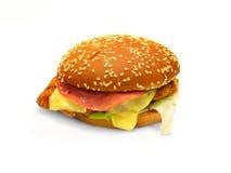 зажаренный цыпленок бургера Стоковое Изображение