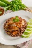 Зажаренный цыпленок с супом риса и пряным соусом Стоковая Фотография RF