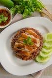 Зажаренный цыпленок с супом риса и пряным соусом Стоковые Фото