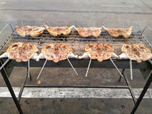Зажаренный цыпленок, цыпленок барбекю, цыпленок BBQ Стоковое Изображение RF
