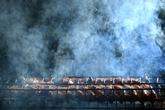 Зажаренный дым мяса Стоковые Фотографии RF